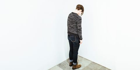 Clothing, Sleeve, Denim, Shoulder, Textile, Standing, Joint, Outerwear, Jeans, Style,