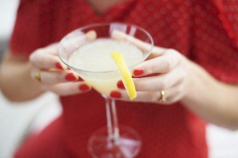 Glass, Drink, Cocktail, Alcoholic beverage, Classic cocktail, Tableware, Distilled beverage, Drinkware, Liqueur, Stemware,