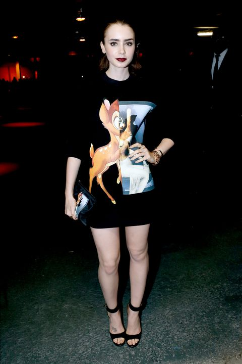 <p>Collins was so into her Bambi-emblazoned Givenchy sweatshirt, she ditched bottoms and just went with strappy black heels.</p>