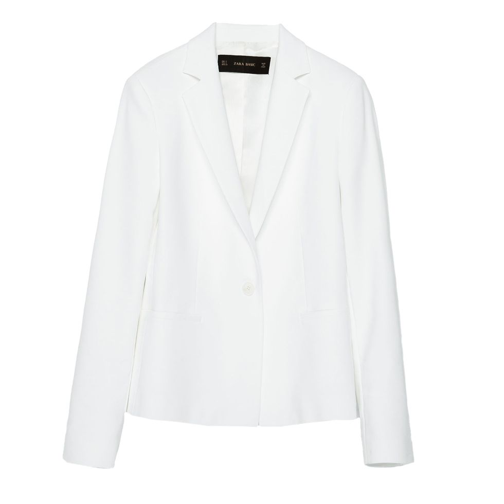 "<p>For one, it's a more striking alternative to black, plus just about every celeb we style stalk is topping off their look with a <a href=""http://www.marieclaire.com/fashion/news/a14556/celebrity-look-for-less/"" target=""_blank"">white blazer worn on the shoulders</a>.</p><p>Zara Double Fabric Blazer, $69.90; <a href=""http://www.zara.com/us/en/woman/blazers/double-fabric-blazer-c756615p2873651.html"" target=""_blank"">zara.com</a>.</p>"