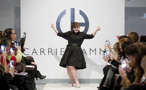 <p>Paving the way for models with Down syndrome (such as the aforementioned Madeline Stuart), the <em>American Horror Story</em> actress was the first-ever runway walker with the condition when she lit up the runway during the Carrie Hammer show at New York Fashion Week back in February.</p>