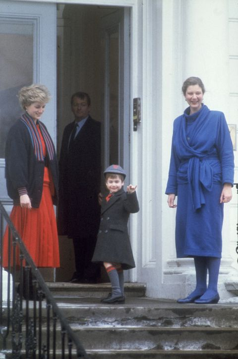 15th January 1987: Diana, Princess of Wales (1961 - 1997, left) accompanies her son Prince William on his first day at Wetherby School, London.