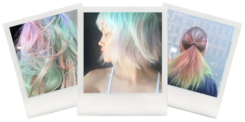 Hairstyle, Style, Colorfulness, Teal, Hair coloring, Beauty, Feathered hair, Turquoise, Violet, Blond,