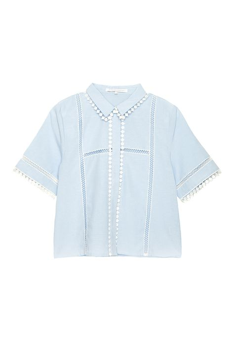 "<p>Cute-chic, and basically an outfit in a shirt—just put on some innocuous pants and you're good.</p><p>A Common Space crochet shirt, $38, <a href=""http://www.acommonspace.com/whats-new/crochet-trim-blouse"">acommonspace.com</a>.</p>"