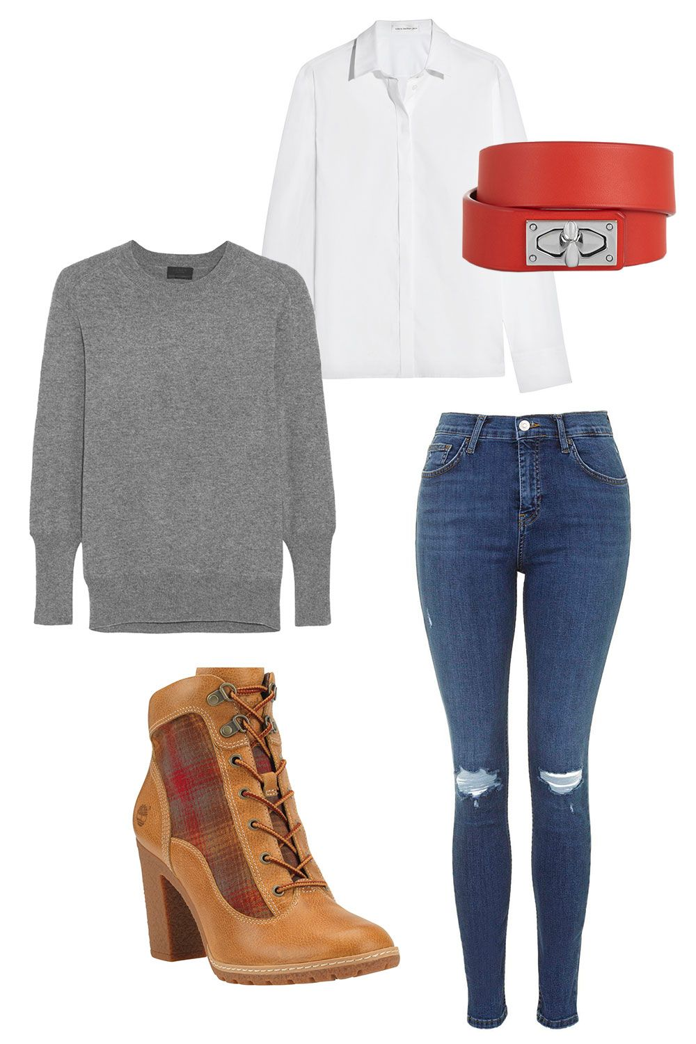 """<p>Venturing outside in the elements to get to that double-bellini weekend meal with your friends? Toss on a pair of durable high-heeled boots to stay warm <em>and</em> look great. Dial up the prep by layering a cashmere sweater over a crisp white button down shirt. </p><p><em><strong></strong><em>Timberland Glancy Hiker Boot, $129.95, <a href=""""http://shop.nordstrom.com/s/timberland-glancy-hiker-boot/4023017?origin=keywordsearch-personalizedsort&contextualcategoryid=2375500&fashionColor=WHEAT&resultback=1797"""" target=""""_blank"""">nordstrom.com</a></em>&#x3B; Topshop MOTO Mid Blue Ripped Jamie Jeans, $75, <a href=""""http://us.topshop.com/en/tsus/product/clothing-70483/jeans-4593087/skinny-jeans-3533632/moto-mid-blue-ripped-jamie-jeans-4572601?bi=0&ps=200"""" target=""""_blank"""">topshop.com</a>&#x3B; Victoria Beckham Denim Stretch Cotton-Blend Poplin Shirt, $355, <a href=""""http://www.net-a-porter.com/product/574282"""" target=""""_blank"""">net-a-porter.com</a>&#x3B; Givenchy Shark Lock Bracelet in Leather and Palladium-Tone Brass, $575, <a href=""""http://www.net-a-porter.com/us/en/product/452267"""" target=""""_blank"""">net-a-porter.com</a>&#x3B; J.Crew Collection Relaxed Cashmere Pullover Sweater, $228, <a href=""""https://www.jcrew.com/womens_category/sweaters/jcrewcashmere/PRDOVR~E2364/E2364.jsp"""" target=""""_blank"""">jcrew.com</a></em></p>"""
