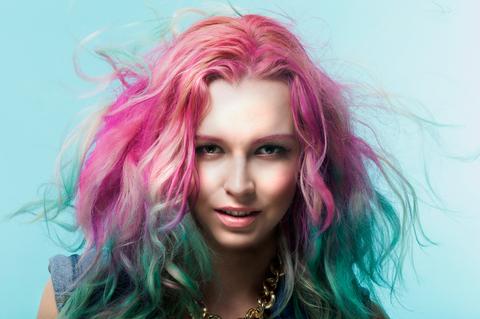 Hair, Lip, Hairstyle, Green, Chin, Eyebrow, Magenta, Purple, Pink, Colorfulness,