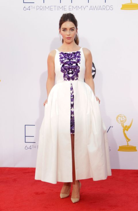 <p>When have you seen panniers at an awards show? Fifty dragon eggs for Khaleesi's Chanel dress.  </p>