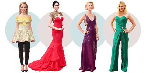 Clothing, Dress, Shoulder, Red, Waist, Textile, Joint, Standing, Formal wear, Magenta,