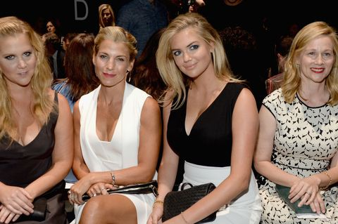 Amy Schumer, Jessica Seinfeld, Kate Upton and Laura Linney attend the Narciso Rodriguez Spring 2016 show.