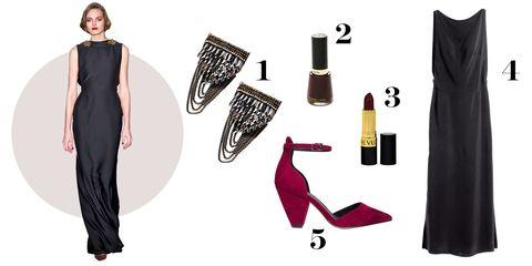 "<p>1. Urban Outfitters pins, $20 each, <a href=""http://bit.ly/1KgNJ0Y"">urbanoutfitters.com</a>.</p><p>2. Revlon nail enamel in Vixen, $4.99, <a href=""http://bit.ly/1OZU2qW"">ulta.com</a>.</p><p>3. Revlon lipstick in Black Cherry, $7.99, <a href=""http://bit.ly/1Jck30R"">ulta.com</a>.</p><p>4. H&M dress, $59.99, <a href=""http://www.hm.com/us/product/31733?article=31733-A"">hm.com</a>.</p><p>5. ASOS heels, $51, <a href=""http://bit.ly/1QitkKp"">asos.com</a>.</p>"