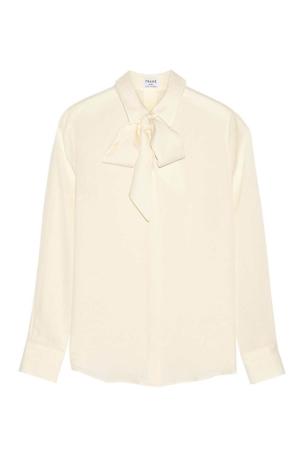 """<p>You'll feel like a million bucks when you slip it on (<em>so </em>soft) and look totally polished.</p><p>Frame Denim Le Bow Silk-Georgette Blouse, $270; <a href=""""http://www.net-a-porter.com/product/609704/Frame_Denim/le-bow-silk-georgette-blouse"""" target=""""_blank"""">net-a-porter.com</a>.</p><p><br></p>"""
