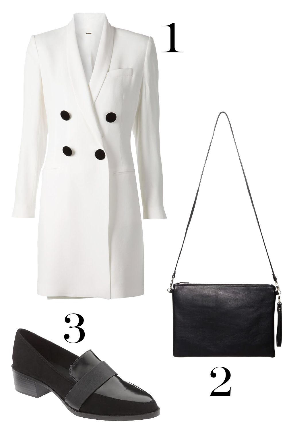 "<p>1. Adam lipped Double Breasted Blazer Dress, $1, 450; <a href=""http://www.farfetch.com/shopping/item11067021.aspx"" target=""_blank"">farfetch.com</a>.</p><p>2. Forever 21 Oversized Crossbody Pouch, $15.90;<a href=""http://www.forever21.com/Product/Product.aspx?br=F21&category=ACC&productid=1000130533"" target=""_blank"">forever21.com</a>.</p><p>3. Old Navy Block-Heel Loafers, $29.94; <a href=""http://oldnavy.gap.com/browse/product.do?cid=55150&vid=1&pid=597754002"" target=""_blank"">oldnavy.gap.com</a>.</p>"