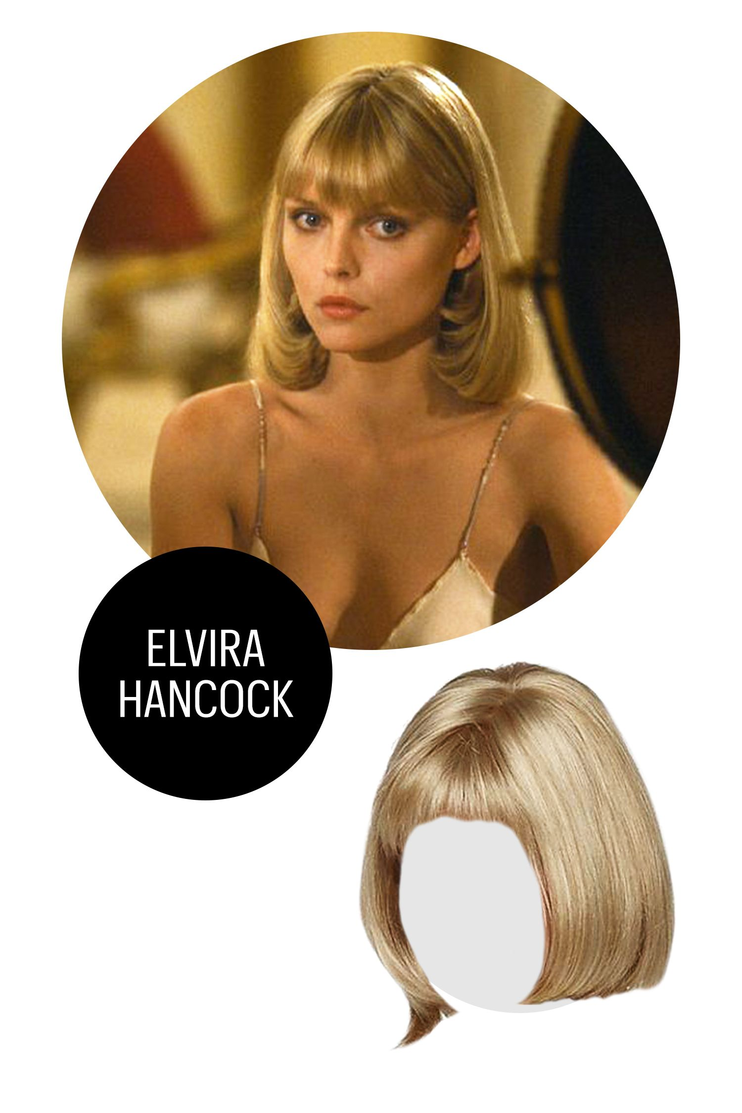 "<p>Whether or not you want to get mixed up with a Tony Montana type, you're going to invite attention channeling Hancock's OG glamour. Once you're working her shoulder-length, dirty blonde fringed bob 'do, slip into something ultra-slinky, like a slip dress.</p><p class=""p2"">Elvira Hancock, $29.99; <a href=""http://www.lightinthebox.com/bob-synthetic-wigs-short-straight-hair-blonde-wig-for-women-natural-wigs-with-bangs_p3762383.html"" target=""_blank"">lightinthebox.com</a>.<span></span><br></p>"