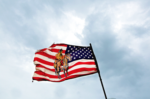 Flag, Blue, Daytime, Sky, Cloud, Flag of the united states, Photograph, Atmosphere, Pole, Cumulus,