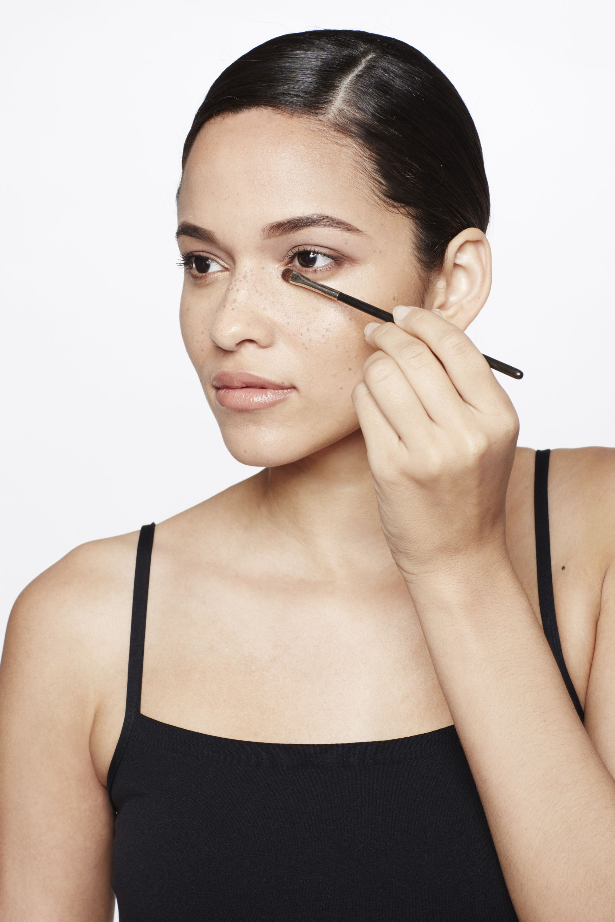 """<p>Maybe you tossed and turned all night—and whether it was for a good reason (yes, girl) or a bad one (dammit)—it still doesn't make for a great look. Whatever's behind your tired eyes, here's an easy way to wake them up. Using a small flat eyeliner brush, apply a powder highlighter, like the lightest shade from <a href=""""http://www.lorealparisusa.com/en/products/makeup/face/blush/true-match-lumi-powder-glow-illuminator.aspx"""" target=""""_blank"""">L'Oréal Paris True Match Lumi Powder Glow Illuminator</a> quad, following the """"V"""" from the inner corner of the eye to the tear duct, says Jose. </p>"""