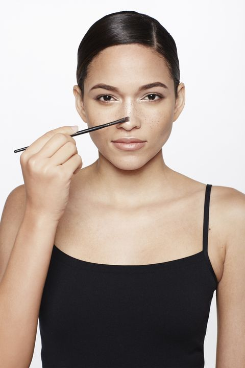 "<p>Refining the shape of your nose is as easy as drawing a narrow line with a light powder highlighter like <a href=""http://www.lorealparisusa.com/en/products/makeup/face/blush/true-match-lumi-powder-glow-illuminator.aspx"" target=""_blank"">L'Oréal Paris True Match Lumi Powder Glow Illuminator</a> from the top to the tip using a flat eye shadow brush. Jose's rule: ""The skinnier the line, the narrower your nose will look.""</p>"