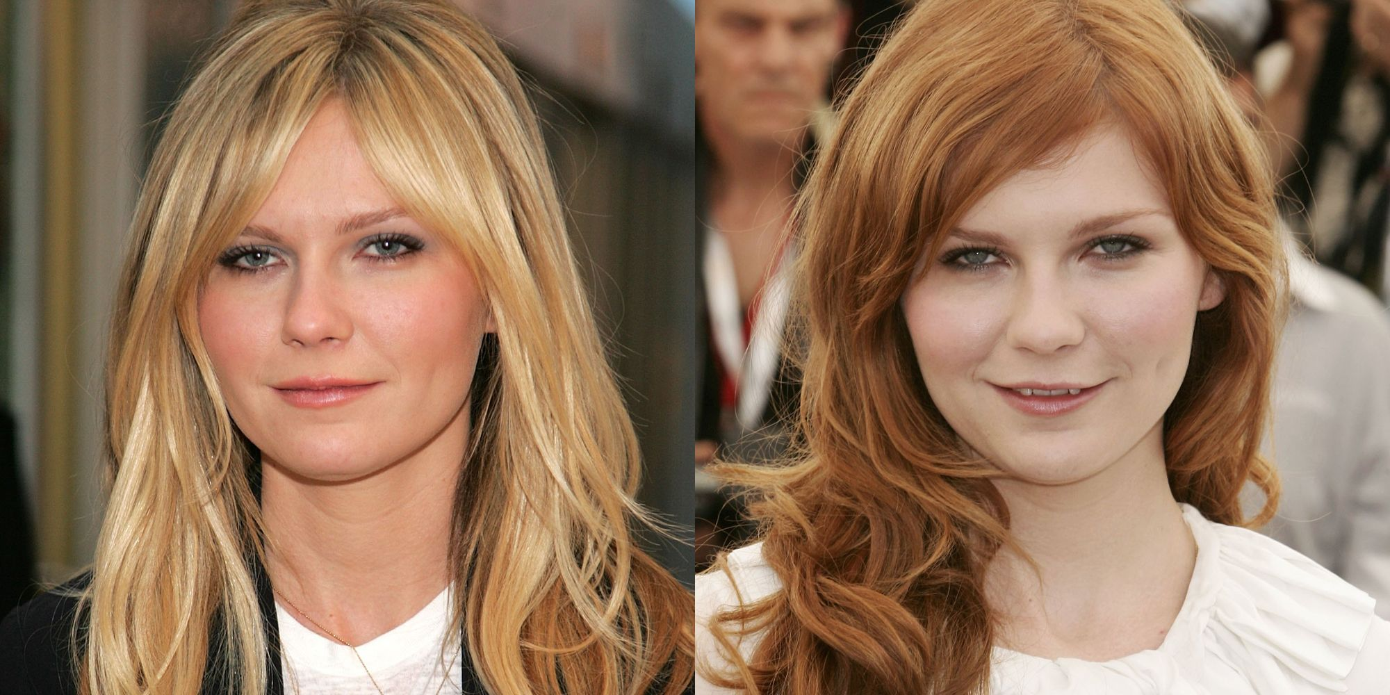 <p>Dunst's Mary-Jane red hair just pops against her alabaster complexion—and we love that she dyed her arches to match, which is another trick to making a new hair color seem more natural. </p>