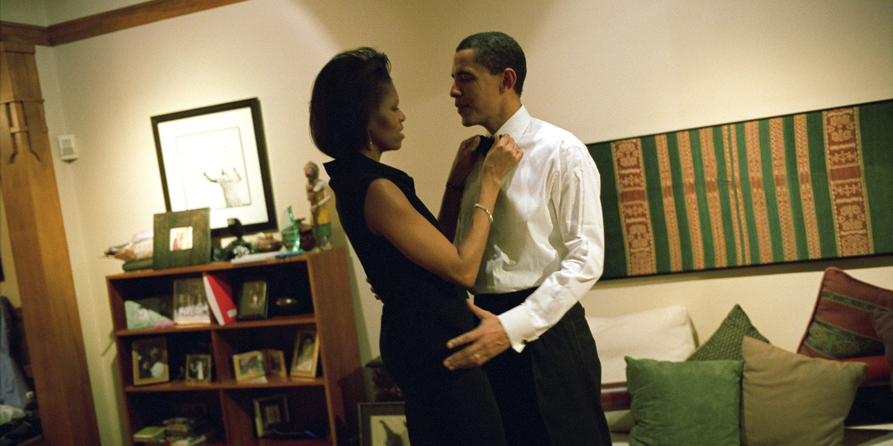 <p>Getting ready at their home in Chicago before Senator Obama addresses the Chicago Economic Club, 2004. </p>