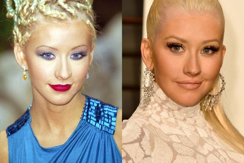 <p>Overly tanned, braids, all-of-the-makeup. Christina (or should we say, Xtina) went all out back in the day. Currently, she's rocking a decidedly more neutral look that's totally <em>stripped...</em>for now.</p>