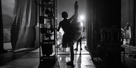 Standing, Monochrome, Monochrome photography, Black-and-white, Darkness, Shadow, Curtain,
