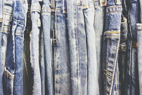 Blue, Denim, Textile, Pocket, Pattern, Electric blue, Button, Natural material, Stitch, Pattern,