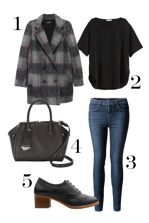 "<p>Fact: With a killer shoe, structured bag, and <a href=""http://www.marieclaire.com/fashion/news/g3218/fall-coats-under-200/"">statement coat</a> you can totally get away with wearing jeans. Just make sure to sport a dark wash (it's like going incognito) and keep the pieces in the same color family to keep it totally polished.</p><p>1. Fifteen Twenty Mohair Jacket, $429; <a href=""https://www.fifteentwenty.com/blazers-and-jackets/mohair-jacket"" target=""_blank"">fifteentwenty.com</a></p><p>2. H&M Silk Top, $50; <a href=""http://www.hm.com/us/product/88623?article=88623-F&cm_vc=SEARCH"" target=""_blank"">hm.com</a></p><p>3. DSTLD High Waisted Jeans in Dusk Vintage, $65; <a href=""https://www.dstldjeans.com/products/high-waisted-skinny-jeans-in-dusk-vintage"" target=""_blank"">dstldjeans.com</a></p><p>4. Micro Perry Satchel, $295; <a href=""http://www.rebeccaminkoff.com/micro-perry-satchel-holiday-black"" target=""_blank"">rebeccaminkoff.com</a></p><p>5. Ted & Muffy Oberon, $240; <a href=""http://www.tedandmuffy.com/us/womens-shoes/brogues/black-leather/oberon/TMS15049.html?dwvar_TMS15049_color=1"" target=""_blank"">tedandmuffy.com</a></p>"