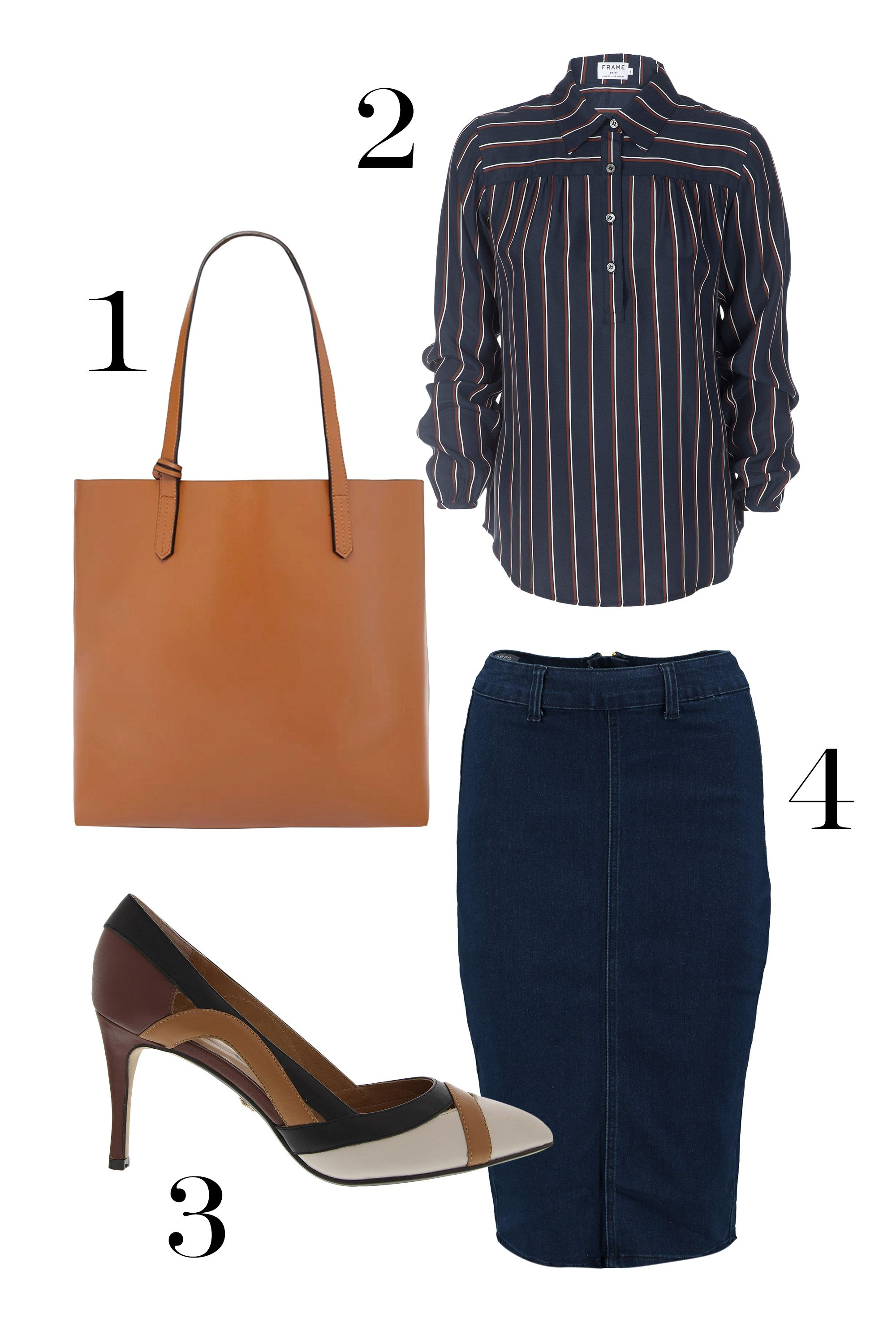 "<p>Jeans only acceptable on Fridays? (Or just an anti-pants gal?) Try a denim take on the always-appropriate pencil skirt. Pair with heels and a structured bag for a look that's still totally appropriate for meetings with the boss. </p><p>1. Oversized faux leather bag, $30&#x3B; <a href=""http://www.forever21.com/Product/Product.aspx?BR=f21&Category=acc_handbags&ProductID=1000165222&VariantID= "" target=""_blank"">forever21.com</a></p><p>2. Frame Le Drope Yoke Popover Blouse, $258&#x3B; <a href=""https://www.shopbop.com/drope-yoke-popover-frame/vp/v=1/1549649743.htm?folderID=2534374302060711&fm=other-shopbysize&os=false&colorId=83977"" target=""_blank"">shopbop.com</a></p><p>3. Nina Agenda, $148&#x3B; <a href=""http://ninashoes.com/nina-agenda_3550"" target=""_blank"">ninashoes.com</a></p><p>4. Jenna High Waisted Skirt, $30&#x3B; <a href=""http://www.boohoo.com/usa/denim/jenna-high-waisted-denim-pencil-skirt/invt/dzz97986 "" target=""_blank"">boohoo.com</a></p>"