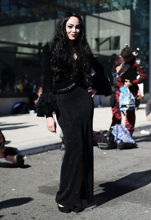 Style, Street, Street fashion, Fashion, Fashion model, Bag, Fashion show, Waist, Fur, Long hair,