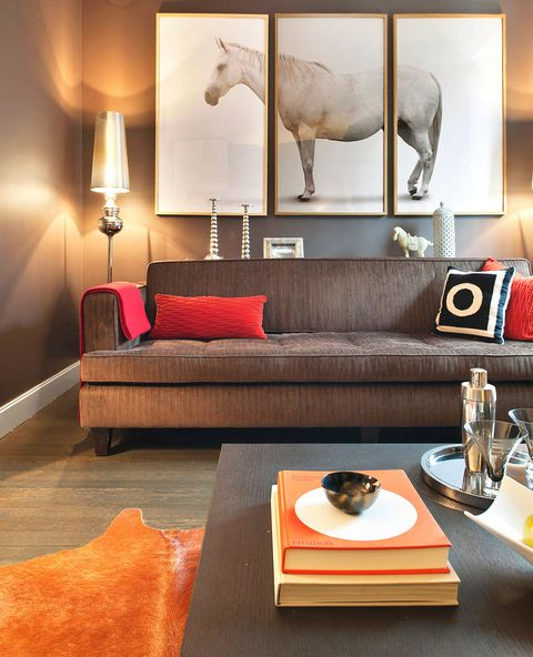Living Room with Triptych Art