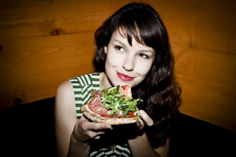 Food, Cuisine, Dish, Food craving, Black hair, Staple food, Flash photography, Bangs, Eating, Leaf vegetable,