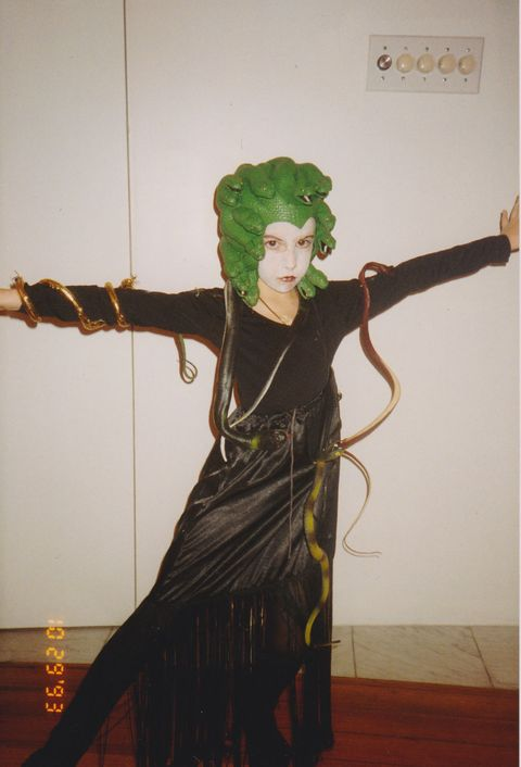 <p>In 1993 I decided to own my power and go as Medusa. My mom went to the hobby store and bought me a bunch of plastic snakes that she super-glued to my leotard. As they started to fall off, so did my spirit. I lost my snakes all along lower Broadway, and with them a little piece of myself.</p>
