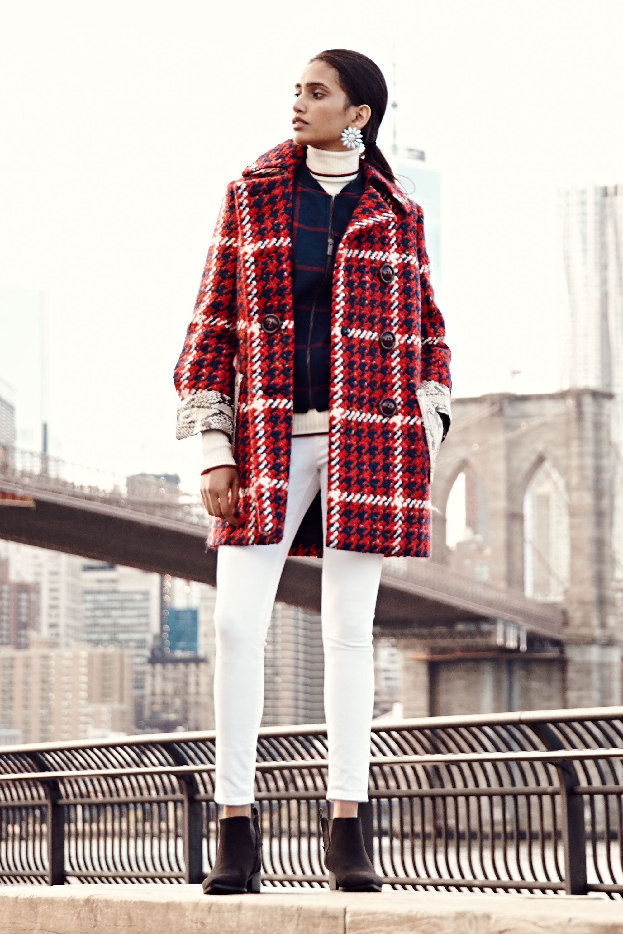 "<p>A swingy plaid coat in a classic palette feels luxe and timeless. See how it even winterizes a favorite pair of white skinnies?</p><p><em><em>Miu Miu Coat, $4,585, <a href=""http://www.miumiu.com/"" target=""_blank"">miumiu.com</a>; </em>Old Navy Plaid Wool-Blend Bomber Jacket, $64.94, <a href=""http://oldnavy.gap.com/browse/product.do?cid=74683&tid=onsm004538&vid=1&pid=716773002"" target=""_blank"">oldnavy.com</a>; Old Navy Mid-Rise Rockstar Skinny Jeans, $22, <a href=""http://oldnavy.gap.com/browse/product.do?cid=85732&tid=onsm004538&vid=1&pid=170509002"" target=""_blank"">oldnavy.com</a>; Maison Kitsuné Extrafine Wool Pullover Turtleneck, $495, Maison Kitsune (212-481-6010)</em><br></p>"
