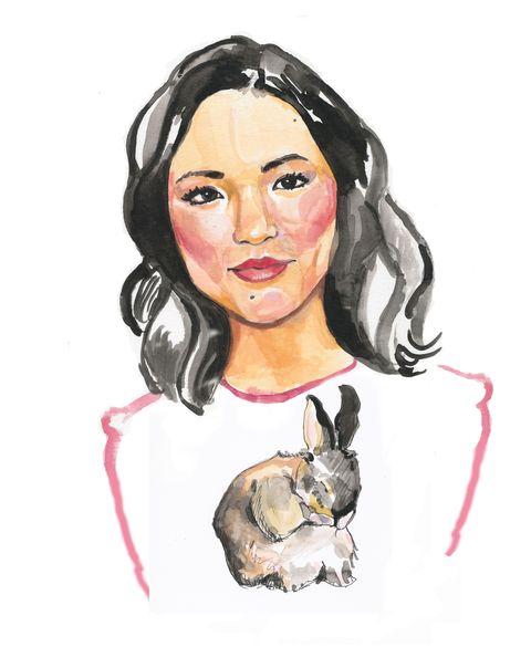 Lip, Art, Neck, Artwork, Painting, Self-portrait, Paint, Rabbit, Illustration, Drawing,