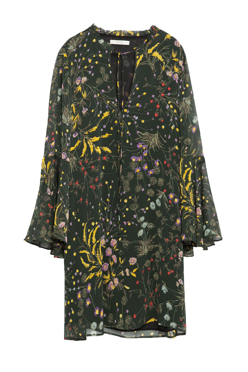 "<p>A billowy silhouette and a dark, floral print are a killer combination for fall.</p><p>Zara Floral Print Dress, $69.90&#x3B; <a href=""http://www.zara.com/us/en/woman/dresses/view-all/floral-print-dress-c733885p2995539.html"" target=""_blank"">zara.com</a>.</p>"
