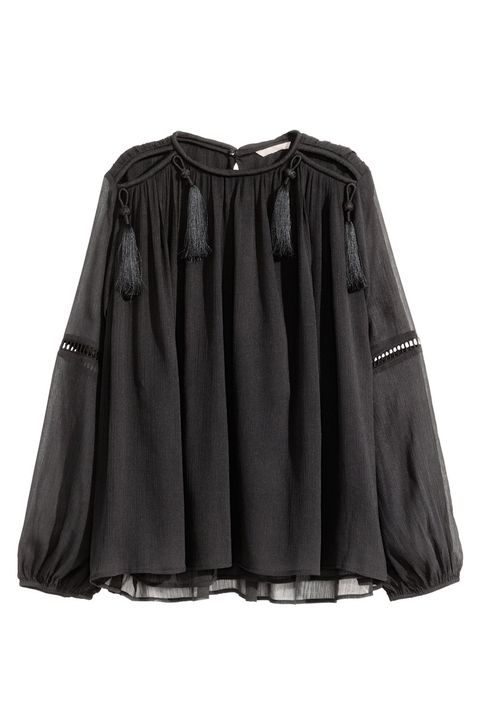 "<p>A black blouse is as versatile as it comes, but retro fringe accents make it fit for a standout lady.</p><p>H&M Chiffon Blouse, $49.99; <a href=""http://www.hm.com/us/product/35500?article=35500-A"" target=""_blank"">hm.com</a>.</p>"