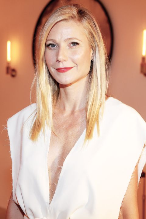 <p>A more demure take on the polarizing look, Paltrow's draped, loose-fitting white jumpsuit dipped into plunge territory, but with virtually no risk of revealing *too* much.</p>