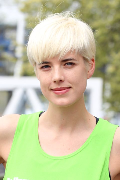 <p>A bleached, quasi bowl cut pixie? Who knew this could work? (Apparently, Agyness and her hairdresser.) </p>