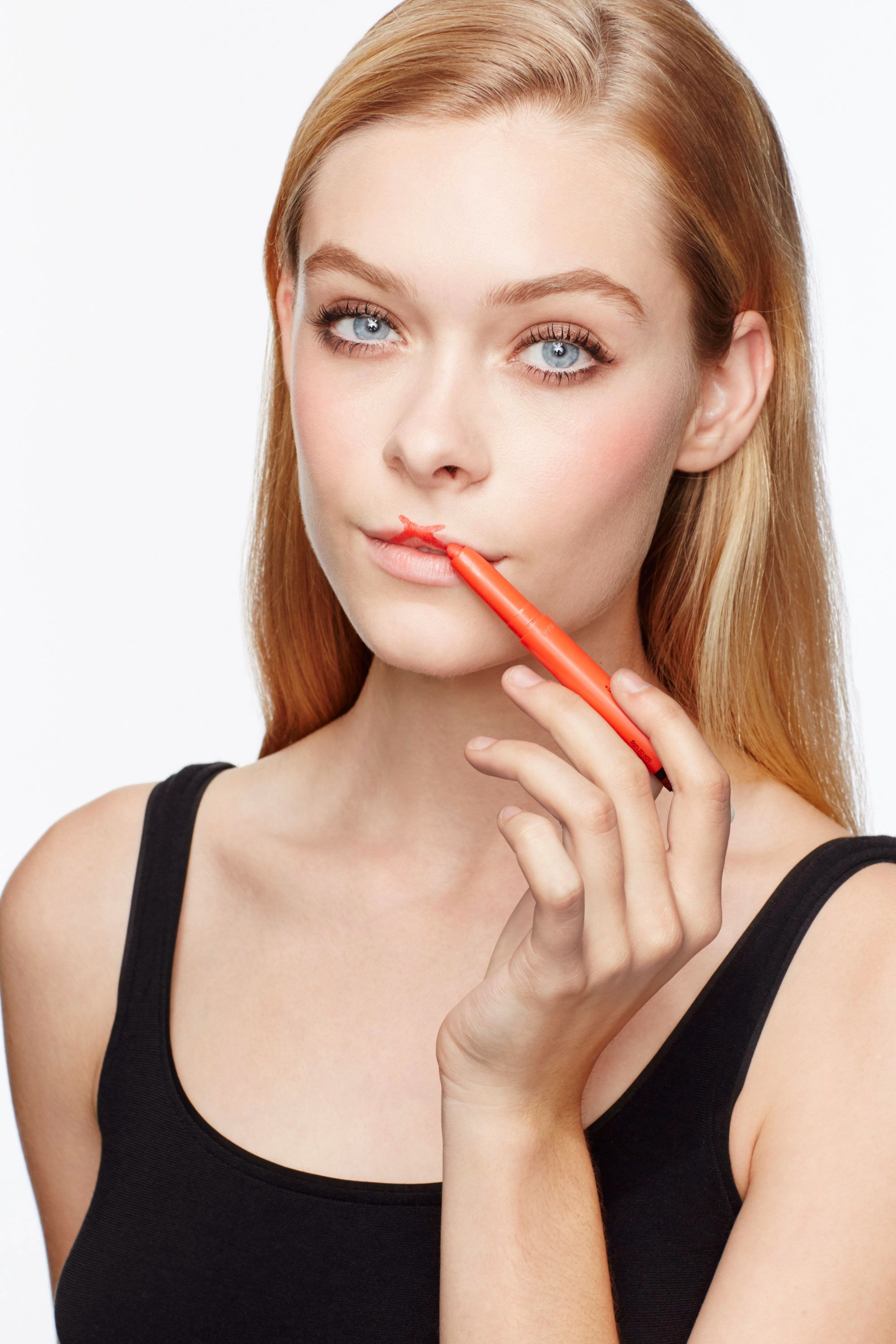 "<p>Draw an ""X"" on your cupid's bow starting ever so slightly above each peak. The intersection of the two lines establishes the trough of the bow—and keeps it from dipping too low. ""A deep V makes lips look drawn on,"" Sotomayor warns.</p>"