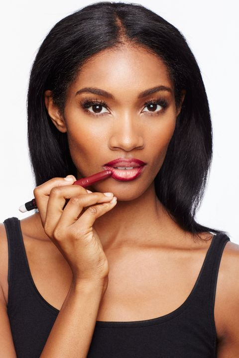 """<p>Reach for a dark liner or <a href=""""http://www.amazon.com/Maybelline-New-York-Studio-Color/dp/B00YJJXC7G/ref=sr_1_1?ie=UTF8&qid=1447101424&sr=8-1&keywords=maybelline+color+blur"""" target=""""_blank"""">Maybelline New York's Color Blur in Plum, Please</a>—a creamy matte crayon that offers the precision of a pencil—and rim the perimeter of your lips, tracing just outside your natural shape. """"Using a deeper color around the edges produces a more 3D look by mimicking the effect of a shadow,"""" said makeup artist Andrew Sotomayor. """"It also causes the outer corners of the lips to recede, creating more contrast in the center where lips should look fullest."""" </p><p><img src=""""https://secure.insightexpressai.com/adServer/adServerESI.aspx?bannerID=549708&script=false&rnd=[%%CACHEBUSTER%%]&tag=img"""" style=""""visibility: hidden; height: 1px; width: 1px;""""></p>"""