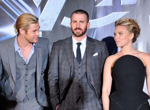 Chris Hemsworth, Chris Evans, Scarlett Johansson