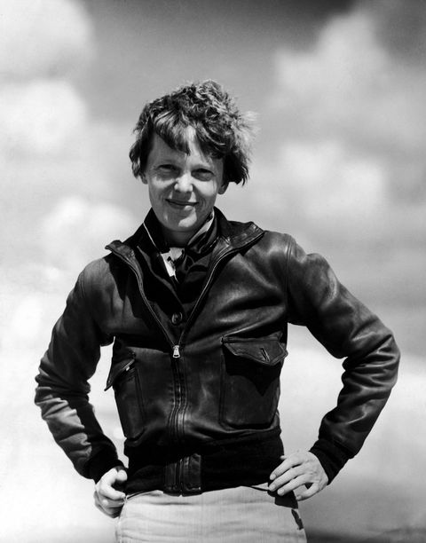 <p>Not a moto jacket this time! A so-sharp-you-could-cut-yourself leather topper is in itself an outfit, but you could always add neutral trousers and windblown hair like Amelia Motherf*ckin Earhart over here. </p>