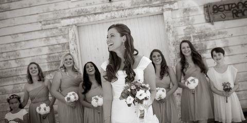 Hair, Smile, Dress, Bouquet, Social group, Photograph, White, Bridal clothing, Happy, Petal,