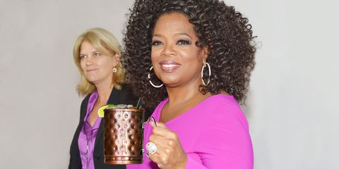 "<p>Oprah's gone on record many times saying that her favorite cocktail is a Moscow mule, a cocktail of vodka, ginger beer, and lime juice. Simple, refreshing, and even better when served in its signature copper mug. (Check out our favorite recipe <a href=""http://www.marieclaire.com/food-cocktails/a14371/moscow-mule-recipe/"">here</a>.)</p>"