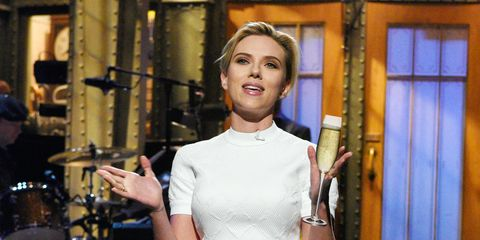 <p>ScarJo likes her drink simple and classic—and it makes sense, given that she's been in ads for Moet and Chandon. </p>
