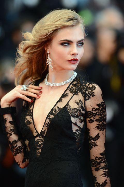 Lip, Hairstyle, Earrings, Jewellery, Eyelash, Fashion model, Style, Fashion accessory, Beauty, Body jewelry,