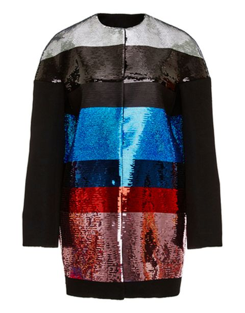 "<p>Shine like a start in the sky with this sequin jacket from Giambattista Valli.</p><p>Price: $7,920; <a target=""_blank"" href=""https://www.modaoperandi.com/giambattista-valli-fw15/camel-wool-multicolored-sequined-coat"">modaoperandi.com</a><br></p>"