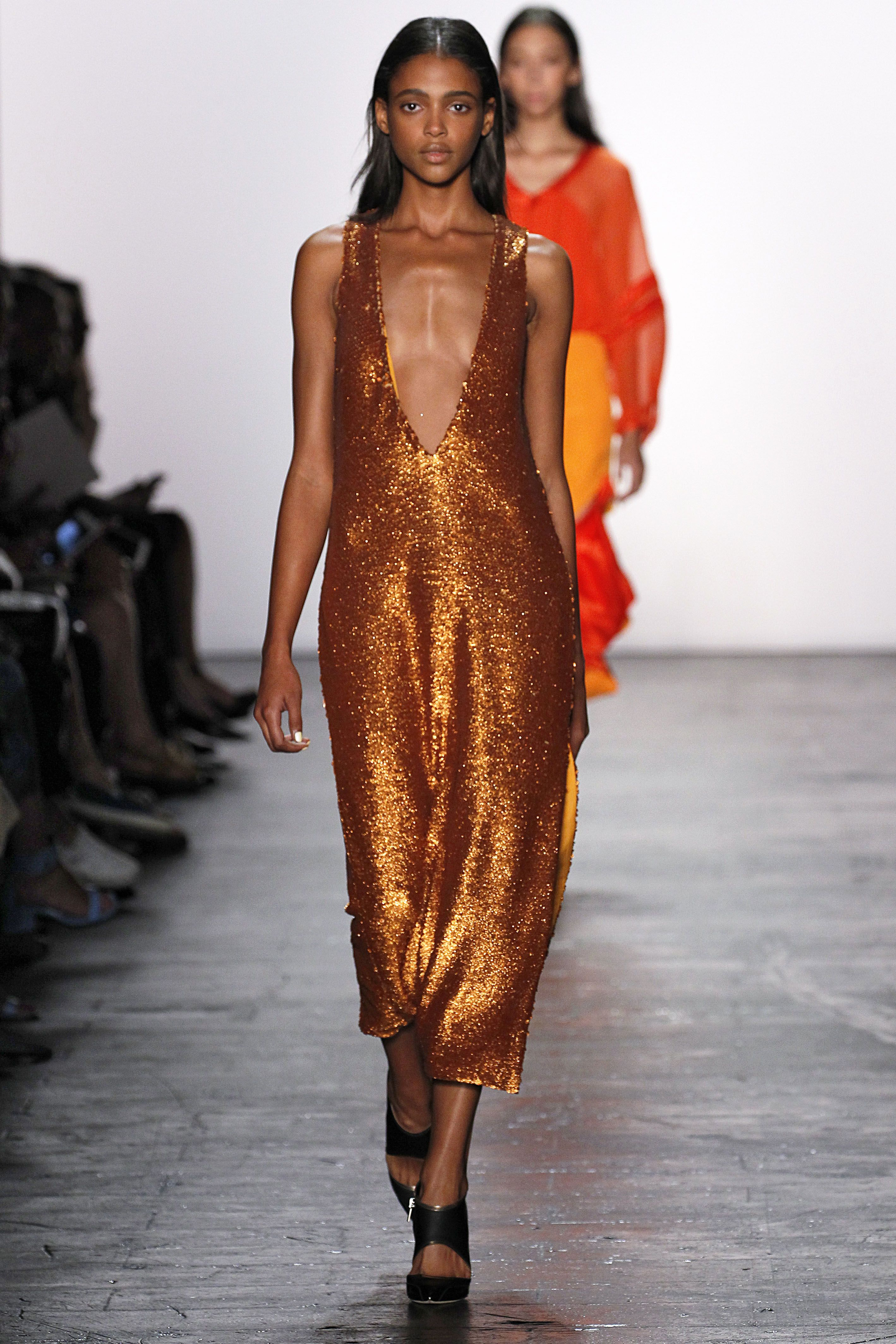 "<p>Fashion's been loosening up for a while now, so look for pieces cut 1) with longer hemlines and 2) farther away from the body, like this bronze Thakoon dress. Flow prevents the shininess from looking too clubby, plus leaves room for <a href=""http://www.marieclaire.com/fashion/news/g3343/weekly-chic-hacks/"">#putaturtleneckunderit</a>. </p>"