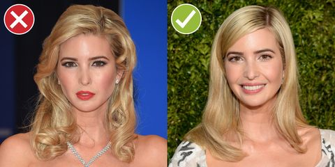<p>Ivanka's vibe is classic society lady, a description that fits both these looks, but the left is clearly the more severe. If you're using heat tools, make sure to break up the monotony with your fingers—young, modern hair is all about movement and not-too-regular texture. (Yes, the right-hand pic is still polished, but take note of the bendy ends.) </p>