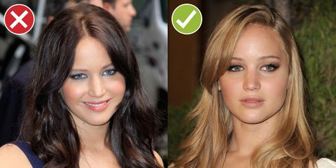 <p>JLaw is now a nine on the blondness scale, but she could totally go dark—just not this flat, sucking-in-light-like-a-black-hole dark. Variation in tone instead of one all-over color looks so much brighter and real. </p>