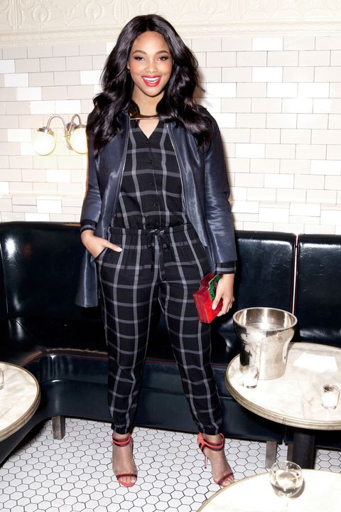 "<p>Red and green plaid? Been there, done that, got the gift bag. Turn the holiday-tartan-outfit trend on its head in a plaid jumpsuit in a decidedly chicer color combination: black and white. (Colorful shoes and accessories keep the look December-y.) </p><p>Old Navy Plaid Drawstring Jumper, $30, <a href=""http://oldnavy.gap.com/browse/product.do?pid=144295002&vid=1&locale=en_US&kwid=1&sem=false&sdkw=plaid-drawstring-jumpsuit-P144295&brandCvoSid=TDDMYCQ5M7TT&sdReferer=http%3A%2F%2Fwww.oldnavy.com%2Fproducts%2Frompers.jsp"" target=""_blank"">oldnavy.com</a>; Club Monaco Helina Calf Hair Panel Coat, $1,995, <a href=""http://www.clubmonaco.com/product/index.jsp?productId=63184676"" target=""_blank"">clubmonaco.com</a>; Miansai Gold Plated Modern Flat Necklace, $515, <a href=""http://www.Miansai.com"" target=""_blank"">miansai.com</a>; Rauwolf Brutalist Clutch, $1,450, <a href=""https://rauwolfnyc.com"" target=""_blank"">rauwolfnyc.com</a>;  Marskinryyppy Suede Mesh Winona Heel Sandal, $239, <a href=""http://www.barneys.com/marskinryyppy-suede-mesh-winona-sandals-504197258.html#prefn1=brand&prefv1=Marskinryyppy&start=1"" target=""_blank"">barneys.com</a></p>"
